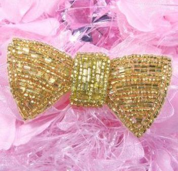 HB7378  Gold Bow Hair bow