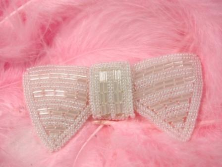K8737  White Bow Tie Beaded Applique 3""
