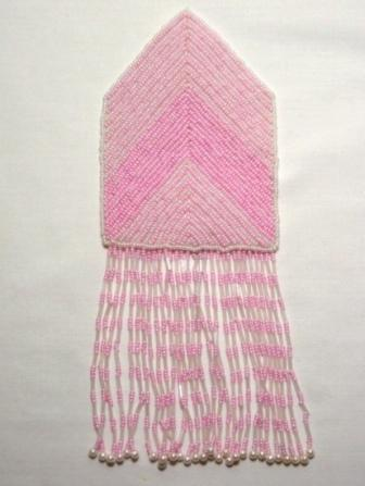 """k8738 Pink Crystal Epaulet Sequin Beaded Applique 8.5"""""""