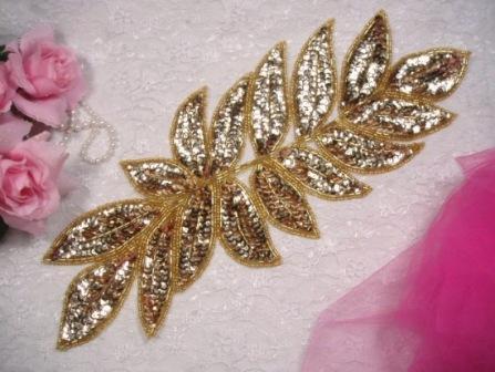 """K8741  Gold Leaf Cluster Sequin Beaded Applique 15"""""""