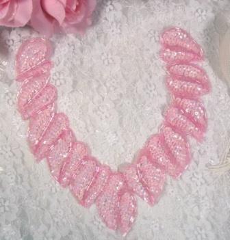 "K8753  Pink AB  Collar Sequin Beaded Applique 8"""