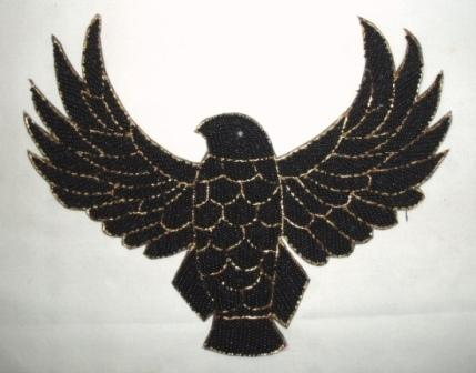 "K8754  Black Thunderbird Eagle Beaded Applique 8.5"""