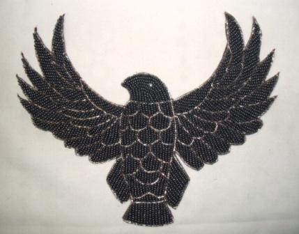 "K8754  Gunmetal Thunderbird Eagle Beaded Applique 8.5"""