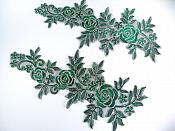 """Floral Embroidered Appliques Green Gold Dance Costume Mirror Pairs 15.75"""" GB680X"""