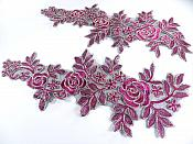 "Floral Embroidered Appliques Wine Gold Dance Costume Mirror Pairs 15.75"" GB680X"
