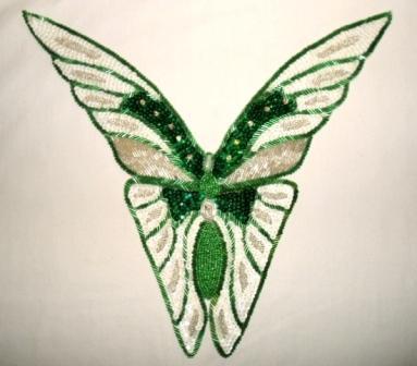 "K8863  Green Butterfly Collar Sequin Beaded  Applique 12.5"""
