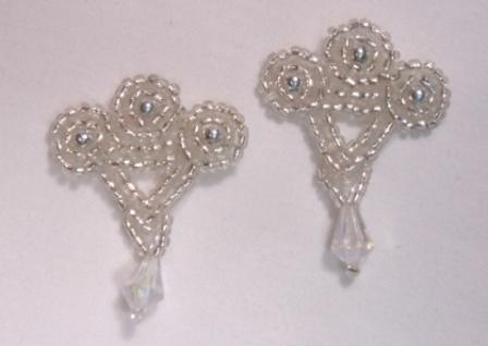 T8866  Set of ( 2 ) Silver Crystal Dangle Beaded Appliques