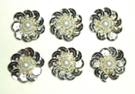 """T8884 Set of 6 Silver Flower Sequin Pearl Appliques 5/8"""""""