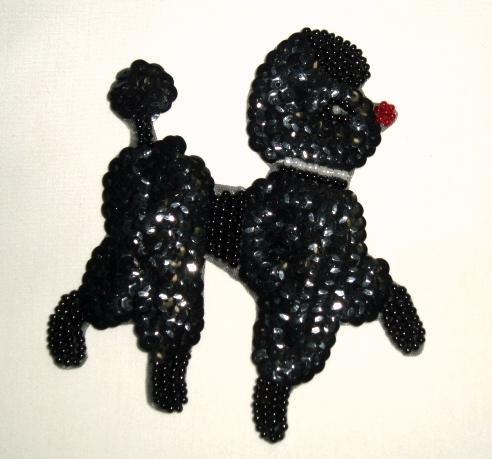 "K8887 Sm Black Poodle 4"" Sequin Beaded Applique"