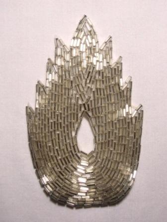 "K8899 Silver Flame Beaded Applique  4.5"""