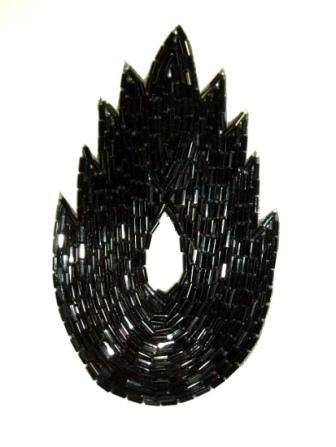 "K8899 Black Flame Beaded Applique  4.5"""