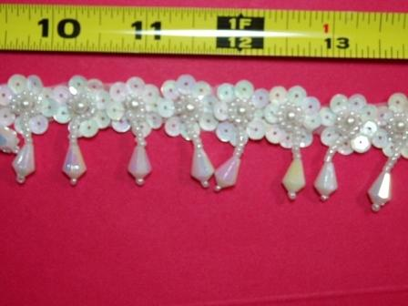 T8904  White AB Dangle Pearl Sequin Beaded Trim