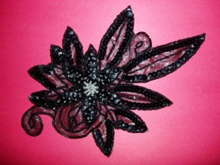 "K8915  Black Floral  Sequin Beaded Applique 8.5"""