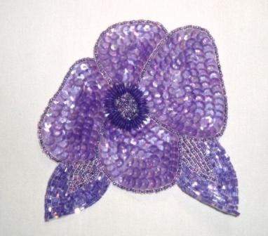 "K8916  Lavender AB Floral  Sequin Beaded Applique 4.5"""