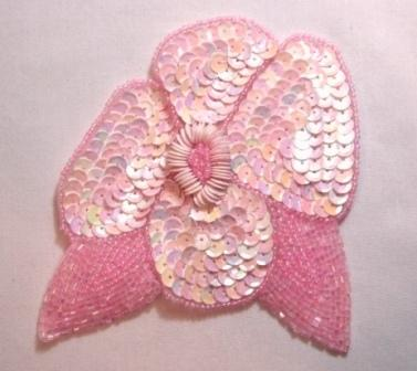 """K8916  Pink AB Opaque Floral  Sequin Beaded Applique 4.5"""""""