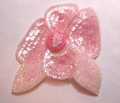 "K8916  Pink Crystal AB Floral  Sequin Beaded Applique 4.5"""