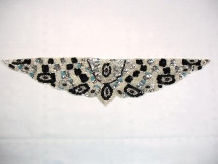 """K8920   Silver Sequin Beaded Appliques 13.75"""""""