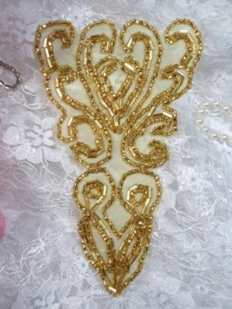 "K8922  Gold Victorian 5.25""  Beaded Applique"