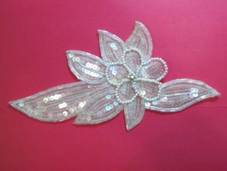 """K8924  Crystal ab Pearl Floral Sequin Beaded Applique 8.25"""""""