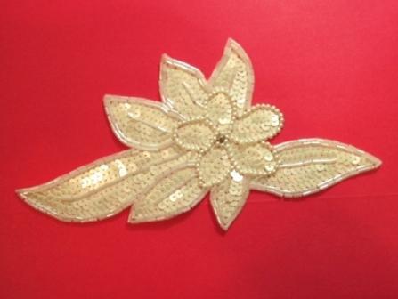 "K8924  White AB Floral Sequin Beaded Applique 8.25"""