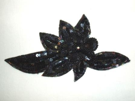 K8924  Black AB Floral Sequin Beaded Applique 8.25""