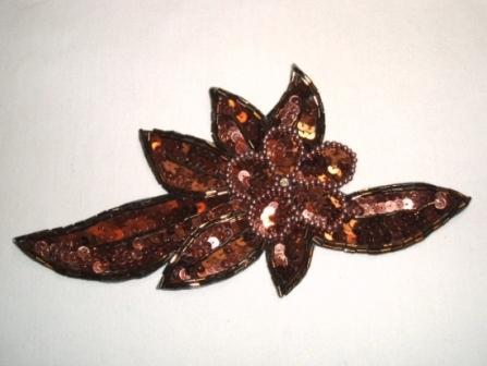 """K8924  Bronze Floral Sequin Beaded Applique 8.25"""""""