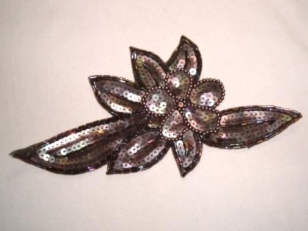 K8924  Bronze AB Floral Sequin Beaded Applique 8.25""