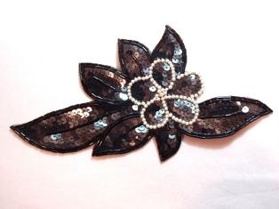 "K8924 Gunmetal Black Pearl Floral Sequin Beaded Applique 8.25"""