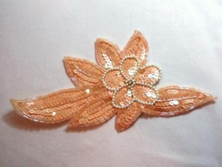 K8924  Peach AB Floral Sequin Beaded Applique 8.25""