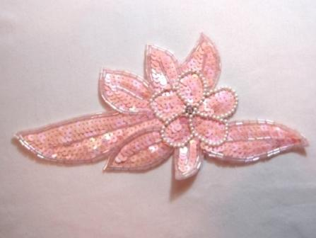 K8924  Pink AB Opaque Floral Sequin Beaded Applique 8.25""