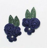 E3604  Navy Blue Crochet Ribbon Floral Applique Pair 2.25""