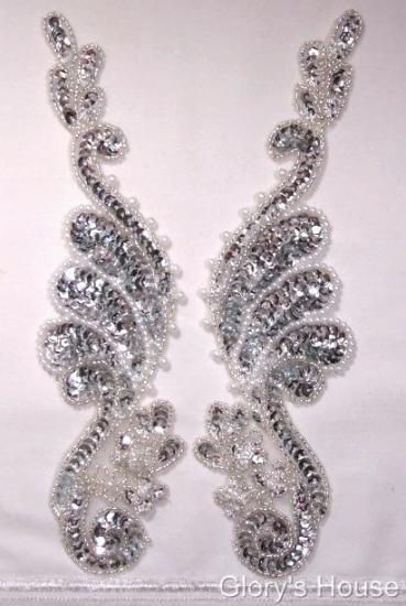 """0016  Silver Pearl Mirror Pair 8"""" Sequin Beaded Appliques"""