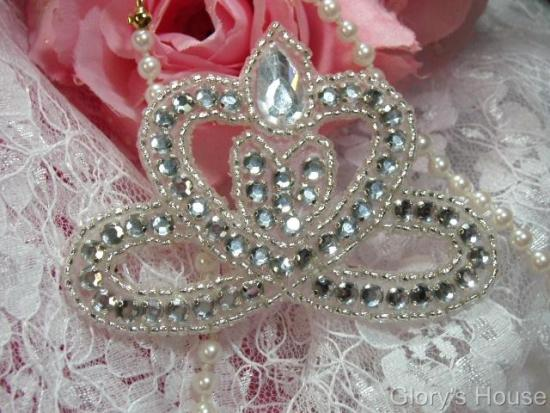 "0025 Clear Rhinestone Crown  3"" Sequin Beaded Applique"