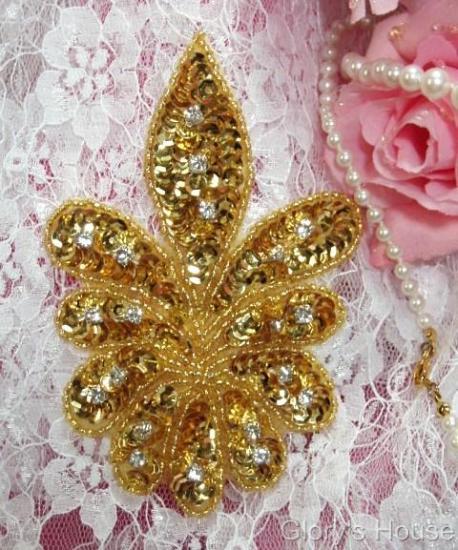 """Gold Sequin w/ Rhinestone 4.75"""" Sequin Beaded Applique 0110"""
