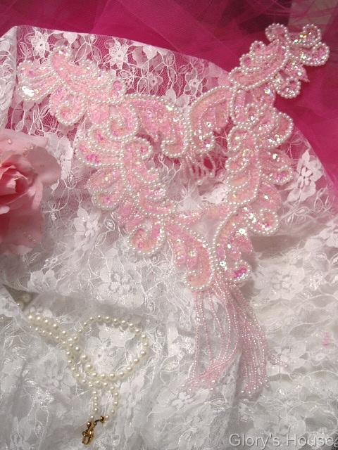 "0037  Pink Bodice Yoke 10"" Sequin Beaded Applique"