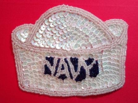 "K9142  Navy Hat White AB Sequin Beaded Applique 4.75"""
