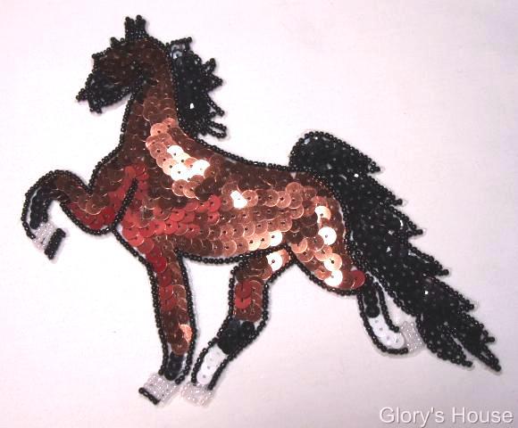 """Brown Tennesse Walker Horse 7"""" Sequin Beaded Applique 0051"""