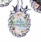 Scripture Necklace In Your Presence Is Fullness Of Joy Dove Pendant Inspirational Christian Jewelry w/ Silver Chain JW142