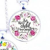 Scripture Necklace For This Child I Have Prayed Pendant Inspirational Christian Jewelry w/ Silver Chain JW114