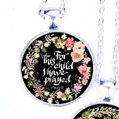 Scripture Necklace For This Child I Have Prayed Pendant Inspirational Christian Jewelry w/ Silver Chain JW122