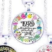 Scripture Necklace The Lord Will Fight For You You Need Only To Be Still Pendant Inspirational Christian Jewelry w/ Silver Chain JW119