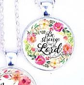 Scripture Necklace Be Strong In The Lord Pendant Inspirational Christian Jewelry w/ Silver Chain JW121