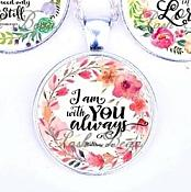 Scripture Necklace I Am With You Always Pendant Inspirational Christian Jewelry w/ Silver Chain JW120
