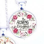 Scripture Necklace Be Strong And Courageous Pendant Inspirational Christian Jewelry w/ Silver Chain JW136