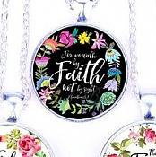 Scripture Necklace For We Walk By Faith Not By Sight Pendant Inspirational Christian Jewelry w/ Silver Chain JW112