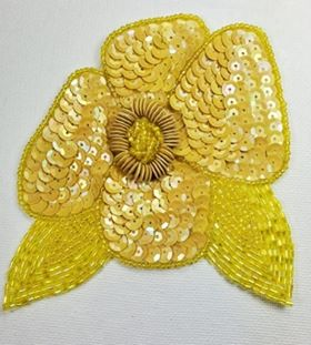 """K8916 Yellow AB Floral  Sequin Beaded Applique 4.5"""""""