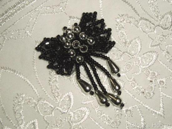"0036 Black & Silver Bow 2""  Sequin Beaded Applique  0036"
