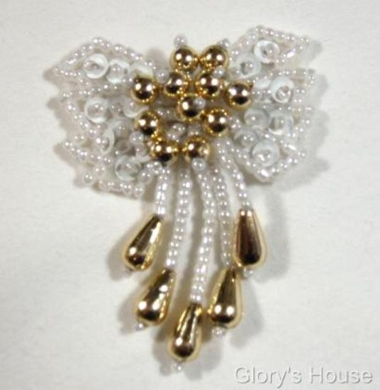 """0036 White & Gold Bow 2"""" Sequin Beaded Applique  0036"""