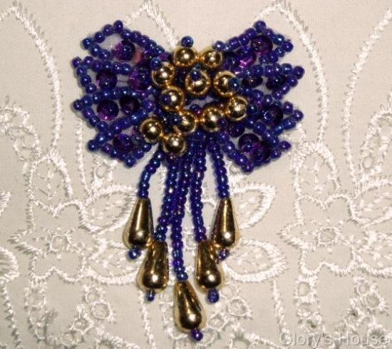 "0036 Purple & Gold Bow 2""  Sequin Beaded Applique  0036"