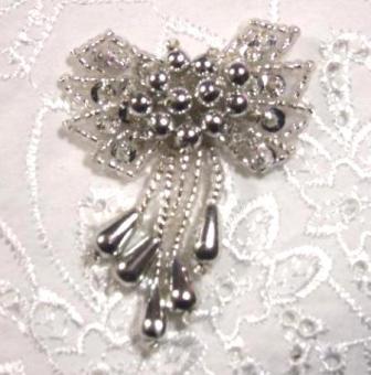 """0036 Silver Bow 2"""" Sequin Beaded Applique  0036"""